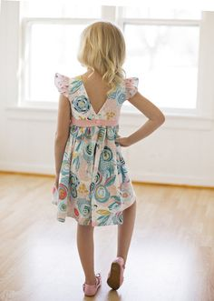 Beautiful, easy and modern child sewing PDF patterns Sophie's V back AND scoop back spring summer dress with flutter sleeves and faux sash floral dress girls size 2t-12