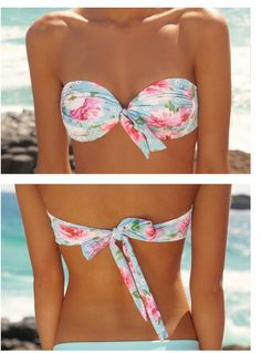Ruched bandeau top in Dreamtime floral. Shop online at www.peonyswimwear.com