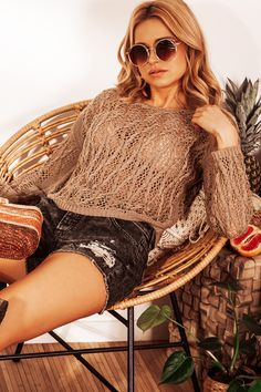 Eyelet Stitching Asymmetrical Sweater In Brown fobya European Fashion, Timeless Fashion, Asymmetrical Sweater, Online Shopping Clothes, Stitching, Blouses, Boutique, Clothes For Women, Lady