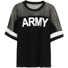 Choies Black ARMY Print Mesh Panel Short Sleeve T-shirt
