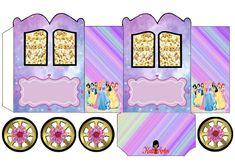 Princesas Disney: Caja con forma de Carruaje para Imprimir Gratis.