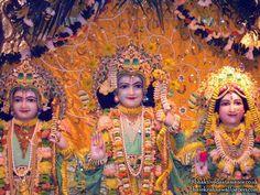 Sri Sri Sita Rama Laxman Close up Wallpaper   {Bhaktivedanta Manor} For more size visit http://harekrishnawallpapers.com
