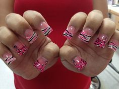 hot pink zebra acrylic nails