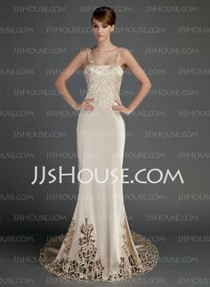 Wedding Dresses - $186.99 - Sheath/Column Chapel Train Charmeuse Wedding Dress With Lace (002015727) http://jjshouse.com/Sheath-Column-Chapel-Train-Charmeuse-Wedding-Dress-With-Lace-002015727-g15727