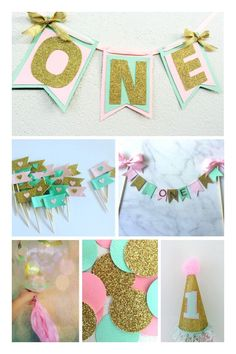 A personal favorite from my Etsy shop https://www.etsy.com/au/listing/249204395/pink-mint-and-gold-mega-first-birthday