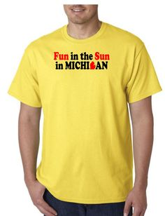 Unisex Heavy Weight Cotton T-Shirt (Gildan) - Fun in the Sun in Michigan - black with red 2