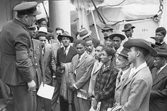 Jamaican immigrants welcomed off the Windrush at Tilbury - 1948