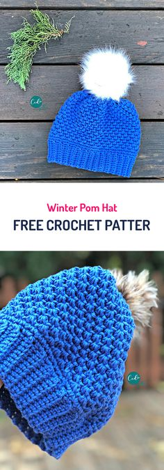 Winter Pom Hat Free Crochet Pattern #crochet #yarn #style #fashion #crafts