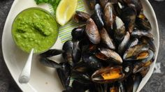 Lilly Higgins recipe: Roast mussels with zhug A Food, Food And Drink, Irish Times, Oven Roast, Mussels, Serving Dishes, Cherry Tomatoes, Tray Bakes, Sprouts