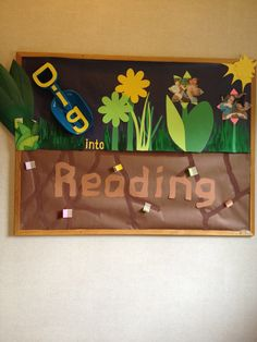 Dig into reading bulletin board garden theme classroom, classroom board, new classroom, classroom Garden Bulletin Boards, Reading Bulletin Boards, Spring Bulletin Boards, Classroom Bulletin Boards, Preschool Bulletin, Reading Boards, Preschool Boards, Library Themes, Library Book Displays