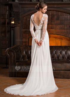 A-Line/Princess Scoop Neck Court Train Chiffon Lace Wedding Dress With Ruffle Beading Sequins (002056220) - JJsHouse