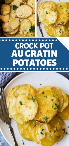 Crock Pot Au Gratin PotatoesAn incredibly delicious potato recipe using the slow cooker! Crock Pot Au Gratin Potatoes are perfect Christmas side dishes for a crowd. The crock pot makes this cheesy, creamy, and comforting dish easy. Pin this ho Au Gratin Potatoes Crockpot, Slow Cooker Potatoes, Crock Pot Potatoes, Slow Cooker Beef, Slow Cooker Recipes, Crock Pot Scalloped Potatoes, Crockpot Recipes, Easy Holiday Recipes, Easter Dinner Recipes