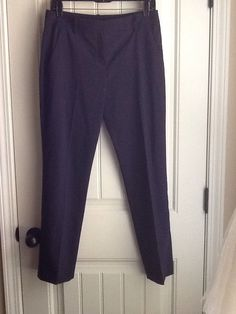 Theory Testra Women's Creased Flat Front Navy Blue Virgin Wool Dress Pants | eBay