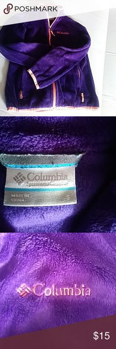 Girls COLUMBIA full zip jacket Purple and coral soft cozy polartec fleece COLUMBIA jacket size s great for cool fall weather Columbia Jackets & Coats