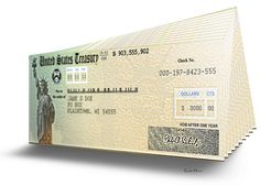 US Treasury Checks - 3D Illustration