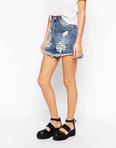 Glamorous Petite | Glamorous Petite Distressed Denim Skirt at ASOS