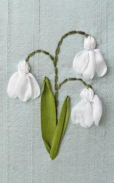 Snowdrops Card. Silk Ribbon Embroidery