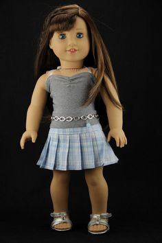"""American Girl doll clothes - **SALE** 3 piece pleated skirt outfit (fits 18"""" doll) (402blu)"""