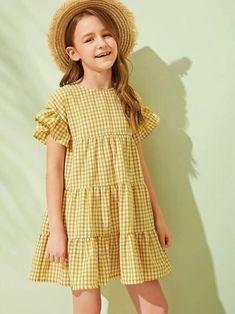 Girls Smocked Dresses, Dresses Kids Girl, Kids Outfits, Cute Outfits, Houndstooth Dress, Gingham Dress, Dress Anak, Smock Dress, Girl Clothing