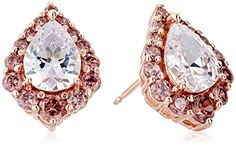 Rose Gold Plated Sterling Silver Pear Shaped White Cubic Zirconia 8x6mm and Round Smoky Cubic Zirconia Halo Stud Earrings ** Check this awesome product by going to the link at the image.