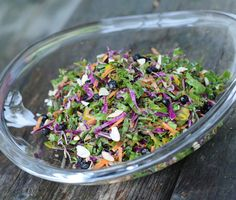 Maintenance: Rainbow Chard Slaw with sweet dried blueberries, and almonds and hemp seeds for crunch. You can add a little safflower mayo to the vinaigrette, or leave it out.