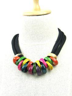 Statement Necklace Coconut Rings Black by elleandbellejewelry, $39.00