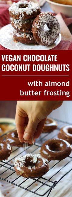 These rich vegan chocolate doughnuts are topped with a creamy almond butter frosting and sprinkled with shredded coconut.