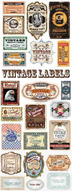 23 Free Vintage Vector Labels - I just love how ornate these are. Lots of uses for these!