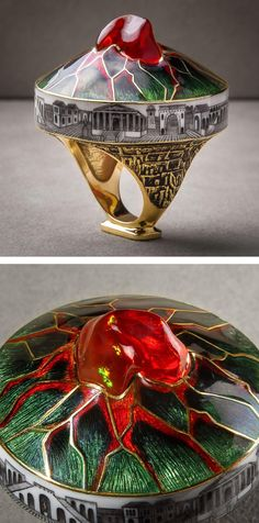 "Gold, enamel and fire opal ""Vesuvius"" ring, by Ilgiz F."