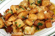 Brabant Potatoes, known as Louisiana fries, are made from peeled and cubed potatoes, first blanched, then deep fried and tossed with a rich, butter garlic sauce. A delicious side for fish, or any main dish!