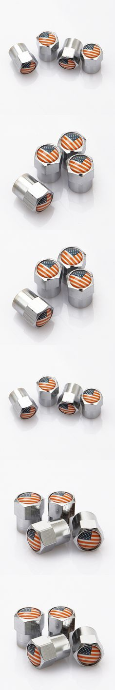 Automobile Motorcycle Wheel Accessories Metal Car Tire Valve Caps With US USA America Flags Logo Styling Air Tyre Stem Cover