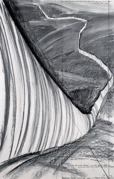 """Christo Running Fence (Project for Sonoma and Marin Counties, California) Drawing 1976 65 x 42"""" (165 x 106.6 cm) Pencil, charcoal and ballpoint pen"""
