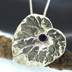 Purple Amethyst Gemstone and Sterling Silver Heart Leaf Pendant £38.00