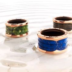 The flawless, industrial lines of B.zero1, carved in marble. In three hues, green, blue and brown, no two are alike, making each ring a sculptural masterpiece of the highest caliber.