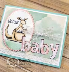 Baby card idea featuring Stampin' UP! Animal Outing stamp set and Lined Alphabet set. Colored with Stampin Blends markers, by Patty Bennett