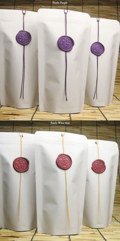 Wedding Favor Bag, White Stand-up Zipper Bag with Wedding Monogram Wax Seal Ornament Set of 60 on Etsy, $80.00