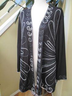 Maggie Barnes Women Plus Size 1XWP Open Front Black Jacket Silver Piping 1X #MaggieBarnes #BasicJacket