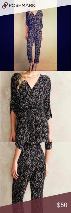 """Anthropologie Darcie Jumpsuit Striking Jumpsuit can be dressed up or down. Only worn once. From Anthropologie's Website:                                      By Elevenses Silky polyester Tie waist Side pockets Pull-on styling Hand wash Imported Regular: 57.5""""L 26.5"""" inseam Anthropologie Other"""