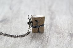 Leather miniature book necklace mini book jewelry by BrotherWorks