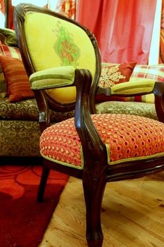 Hand Made Upholstered Chair Vintage Victorian Chair and settee by Jane Hall The Voice of Style   CustomMade.com