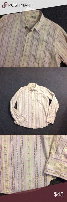 Lucky Brand Slim Fit Floral Shirt XL Lucky Brand Button Down Shirt. Floral Stripe Print. Slim Fit 100% cotton in size XL. Nice condition. Lucky Brand Shirts Casual Button Down Shirts