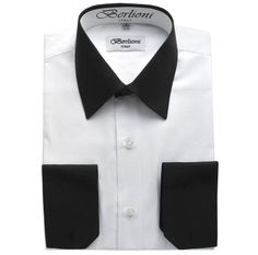 ec8832791 Berlioni Italy White Collar & Cuffs Mens Two Tone Dress Shirt 19 Colors &  Sizes