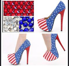 Custom American Flag bling heels, patriotic stilettos , red white blue high heels, bling heels free shipping  Black Friday Sale