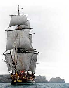 L'HERMIONE at the Port of LAS PALMAS THE GRAN CANARIA   on May 1, 2015 at 1106 AM. The ship will enter the port accompanied by sailboats.
