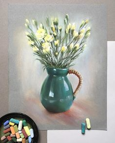 56 Flower Drawing Ideas Colored With Crayons - Art Chalk Pastel Art, Soft Pastel Art, Pastel Artwork, Oil Pastel Paintings, Pastel Drawing, Chalk Pastels, Soft Pastels, Crayons Pastel, Pastel Pencils