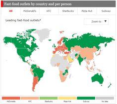 ¿Qué restaurante de comida rápida triunfa en cada país del mundo?