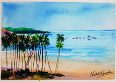 Seeing water calms down the mind and the breeze running from the coconut trees cools down the head. Just like how painting with Water Colours satiates the soul! Poster Colour, Art Day, Colouring, Breeze, Watercolour, Art Photography, Art Gallery, Coconut, Running