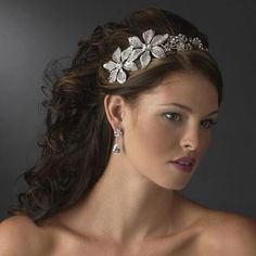 Floral Side Accent silver tiara headband - $104.95