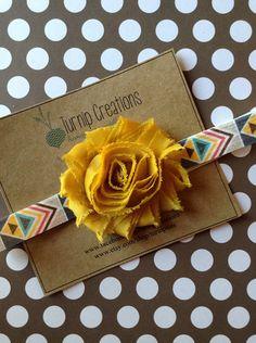 Aztec Headband Tribal Bohemian Headband Mustard Yellow