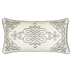 Bring a pop of style with this chic cotton pillow, featuring an embroidered scrolling motif and piped edging.  Product: Pillow